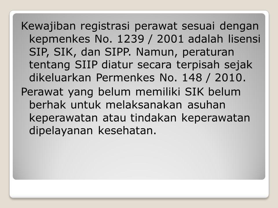 Kewajiban registrasi perawat sesuai dengan kepmenkes No. 1239 / 2001 adalah lisensi SIP, SIK, dan SIPP. Namun, peraturan tentang SIIP diatur secara te