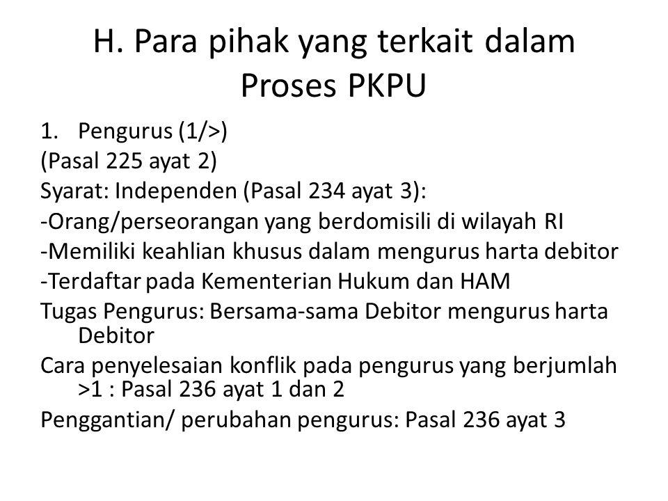 H. Para pihak yang terkait dalam Proses PKPU 1.Pengurus (1/>) (Pasal 225 ayat 2) Syarat: Independen (Pasal 234 ayat 3): -Orang/perseorangan yang berdo