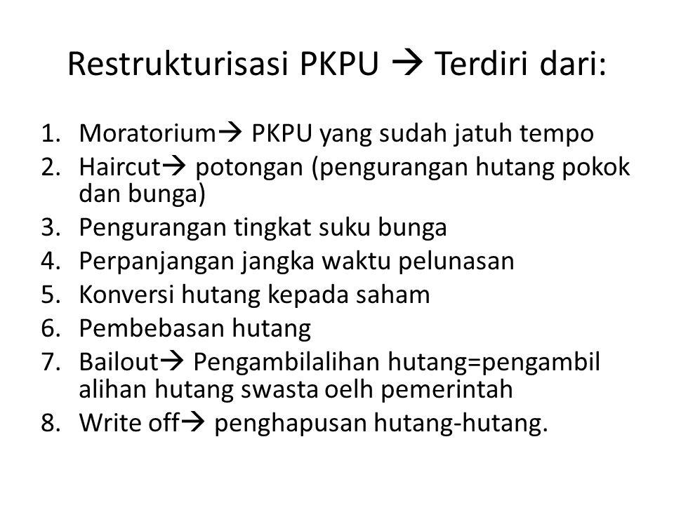 Restrukturisasi PKPU  Terdiri dari: 1.Moratorium  PKPU yang sudah jatuh tempo 2.Haircut  potongan (pengurangan hutang pokok dan bunga) 3.Penguranga