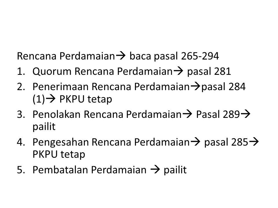 Rencana Perdamaian  baca pasal 265-294 1.Quorum Rencana Perdamaian  pasal 281 2.Penerimaan Rencana Perdamaian  pasal 284 (1)  PKPU tetap 3.Penolak