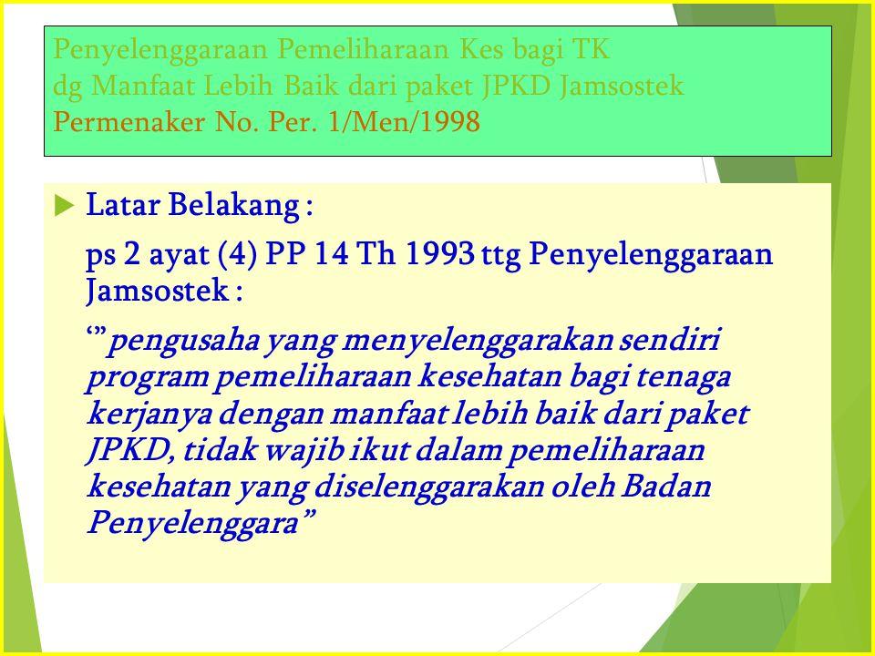 Penyelenggaraan Pemeliharaan Kes bagi TK dg Manfaat Lebih Baik dari paket JPKD Jamsostek Permenaker No. Per. 1/Men/1998  Latar Belakang : ps 2 ayat (