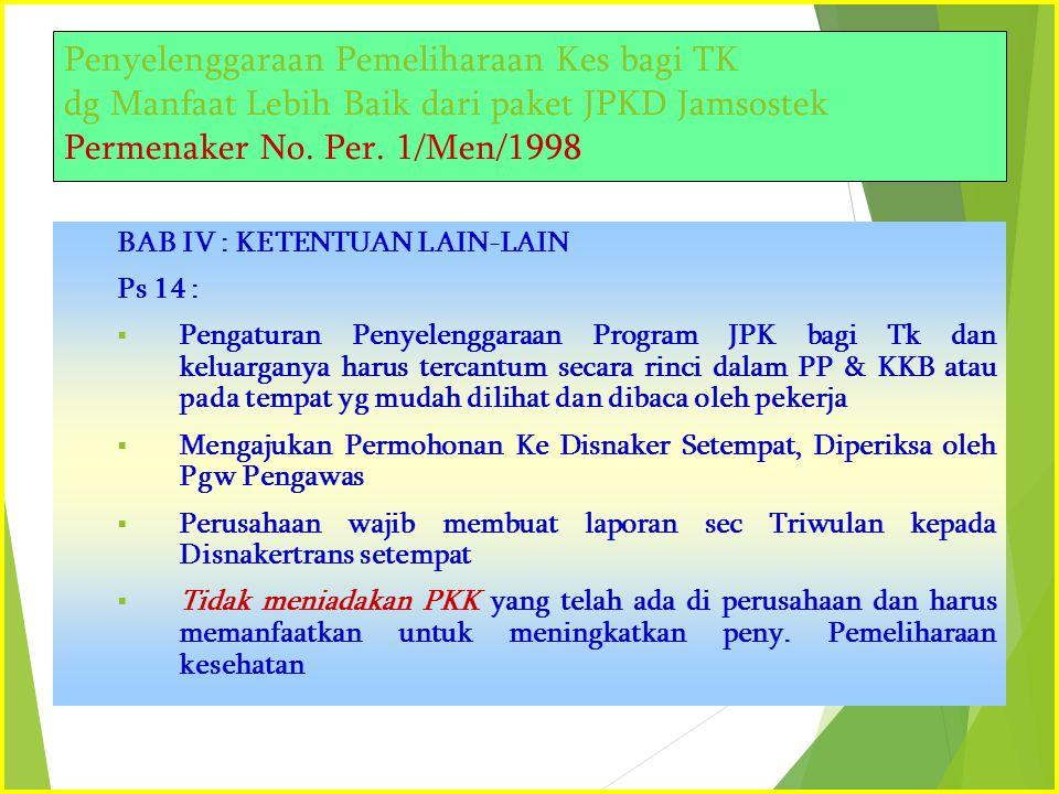 Penyelenggaraan Pemeliharaan Kes bagi TK dg Manfaat Lebih Baik dari paket JPKD Jamsostek Permenaker No. Per. 1/Men/1998 BAB IV : KETENTUAN LAIN-LAIN P