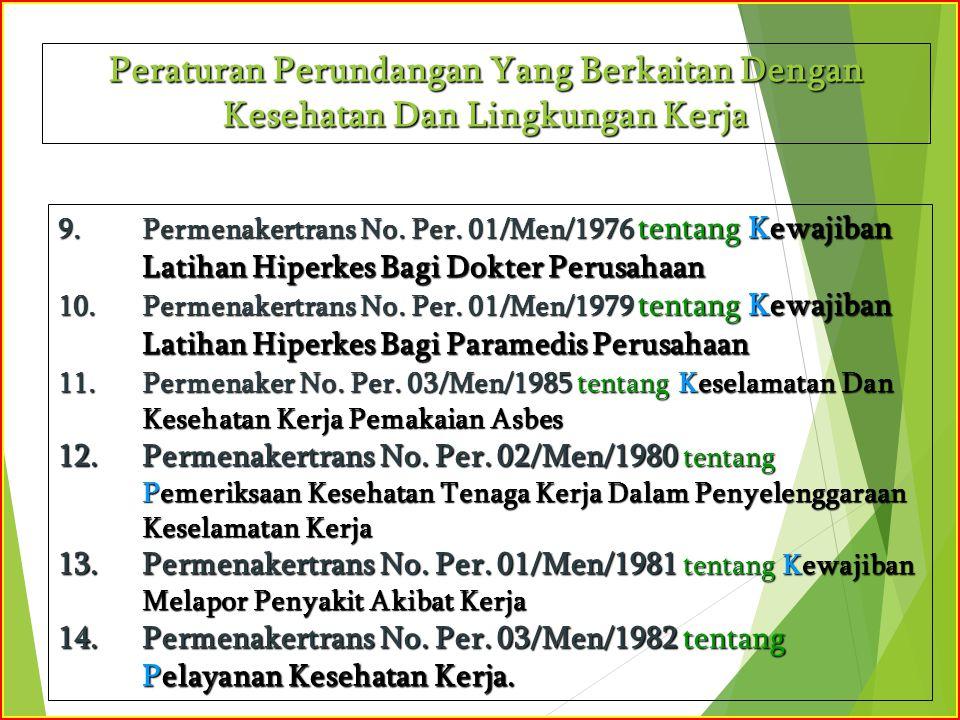 9.Permenakertrans No. Per. 01/Men/1976 tentang Kewajiban Latihan Hiperkes Bagi Dokter Perusahaan 10.Permenakertrans No. Per. 01/Men/1979 tentang Kewaj