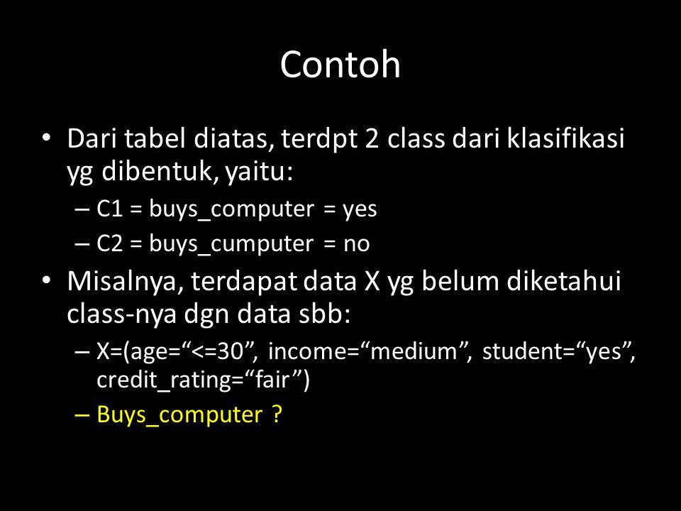 Contoh Dari tabel diatas, terdpt 2 class dari klasifikasi yg dibentuk, yaitu: – C1 = buys_computer = yes – C2 = buys_cumputer = no Misalnya, terdapat