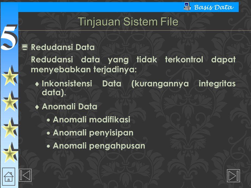 5 5 Basis Data  Redudansi Data Redudansi data yang tidak terkontrol dapat menyebabkan terjadinya:  Inkonsistensi Data (kurangannya integritas data).