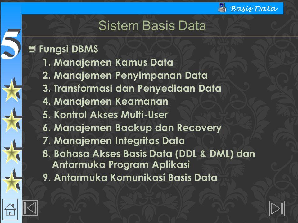 5 5 Basis Data  Fungsi DBMS 1. Manajemen Kamus Data 2.