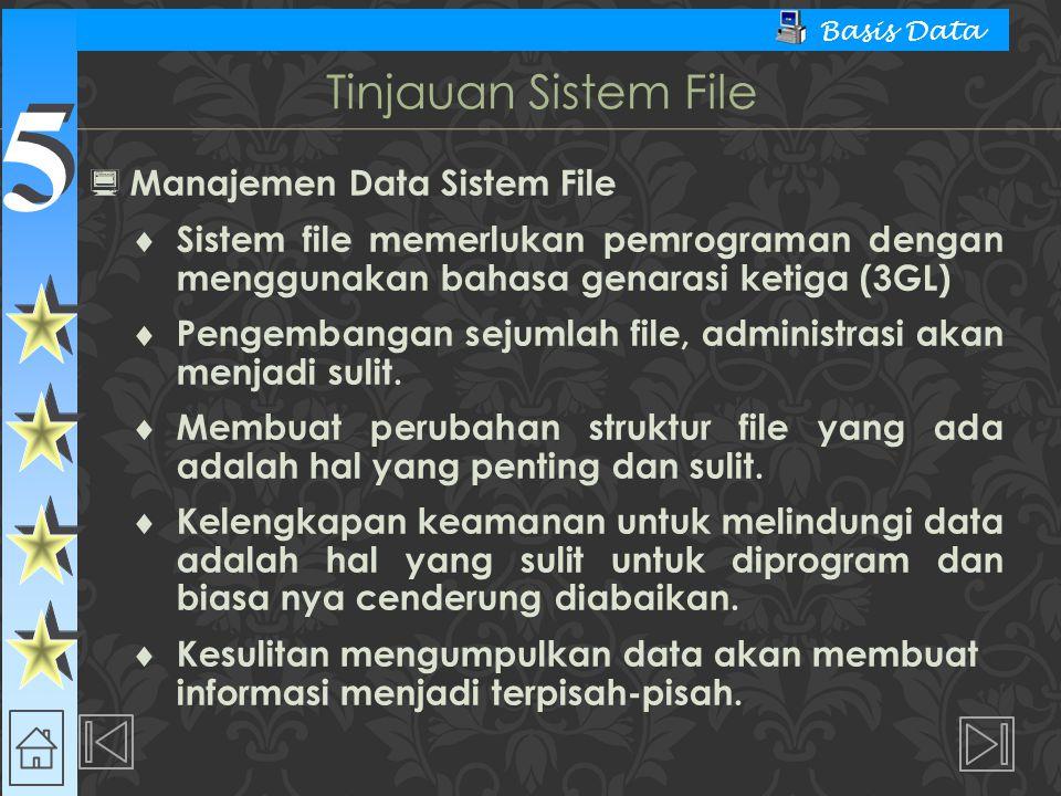 5 5 Basis Data  Manajemen Data Sistem File  Sistem file memerlukan pemrograman dengan menggunakan bahasa genarasi ketiga (3GL)  Pengembangan sejumlah file, administrasi akan menjadi sulit.