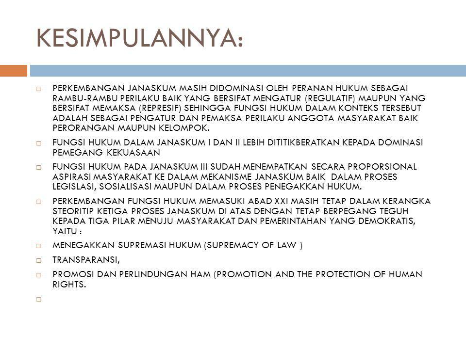 KESIMPULANNYA:  PERKEMBANGAN JANASKUM MASIH DIDOMINASI OLEH PERANAN HUKUM SEBAGAI RAMBU-RAMBU PERILAKU BAIK YANG BERSIFAT MENGATUR (REGULATIF) MAUPUN