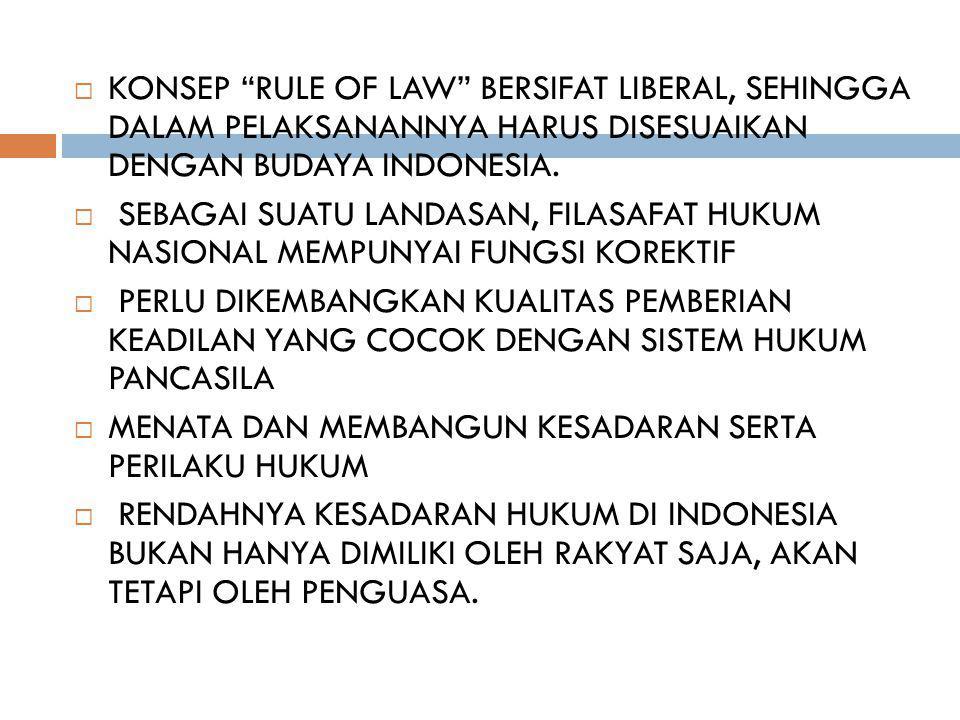 " KONSEP ""RULE OF LAW"" BERSIFAT LIBERAL, SEHINGGA DALAM PELAKSANANNYA HARUS DISESUAIKAN DENGAN BUDAYA INDONESIA.  SEBAGAI SUATU LANDASAN, FILASAFAT H"