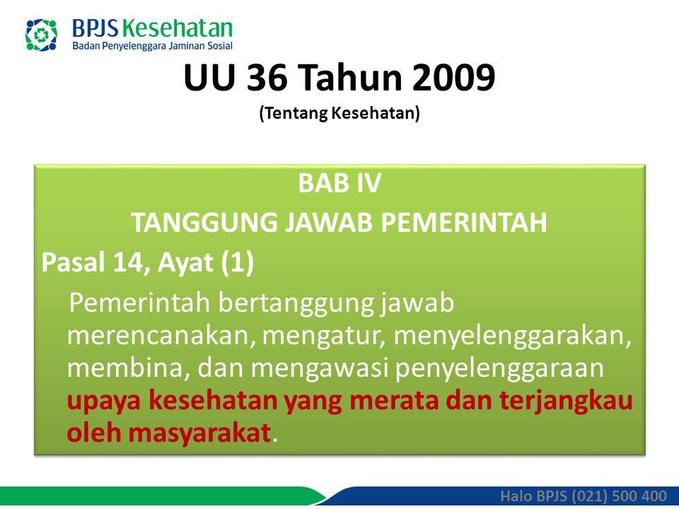 UU 36 Tahun 2009 (Tentang Kesehatan) BAB IV TANGGUNG JAWAB PEMERINTAH Pasal 14, Ayat (1) Pemerintah bertanggung jawab merencanakan, mengatur, menyelenggarakan, membina, dan mengawasi penyelenggaraan upaya kesehatan yang merata dan terjangkau oleh masyarakat.