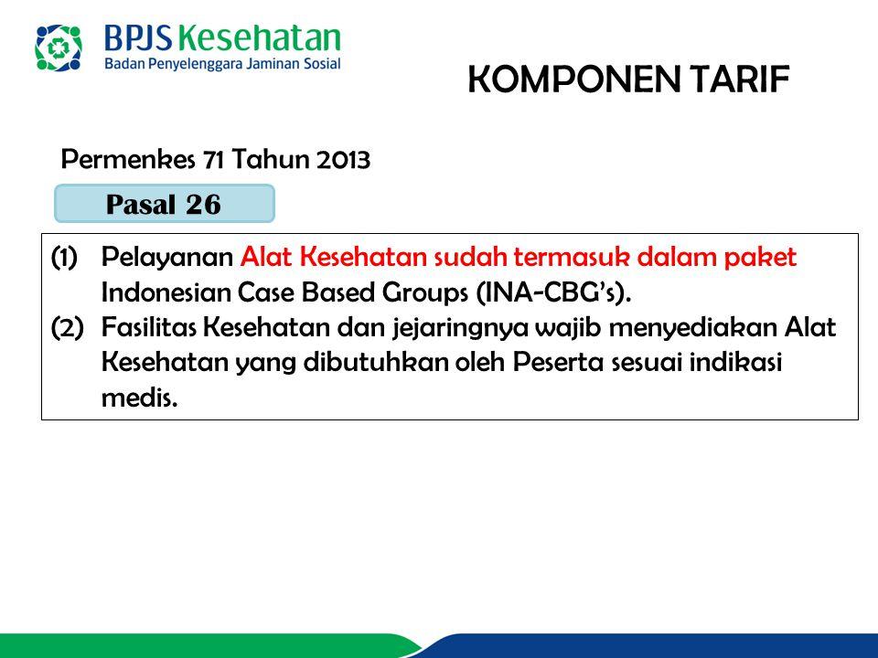 KOMPONEN TARIF (1)Pelayanan Alat Kesehatan sudah termasuk dalam paket Indonesian Case Based Groups (INA-CBG's).