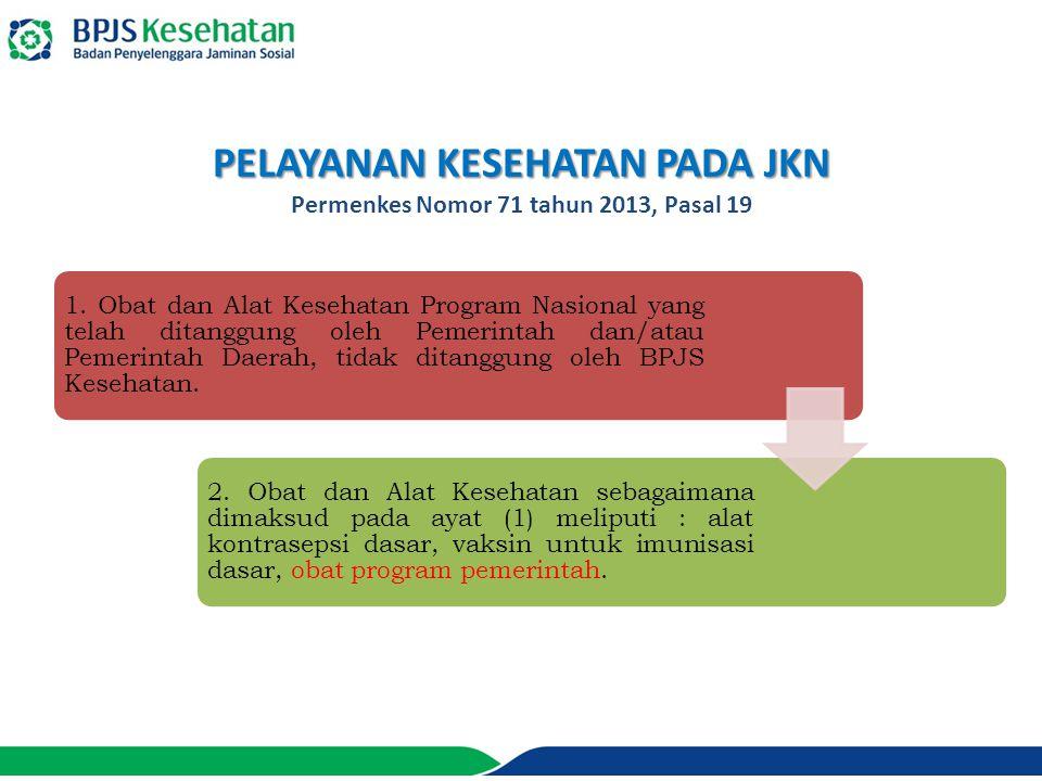 PELAYANAN KESEHATAN PADA JKN Permenkes Nomor 71 tahun 2013, Pasal 19 1.