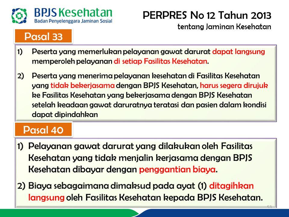 PERPRES No 12 Tahun 2013 tentang Jaminan Kesehatan Pasal 33 Pasal 40 53