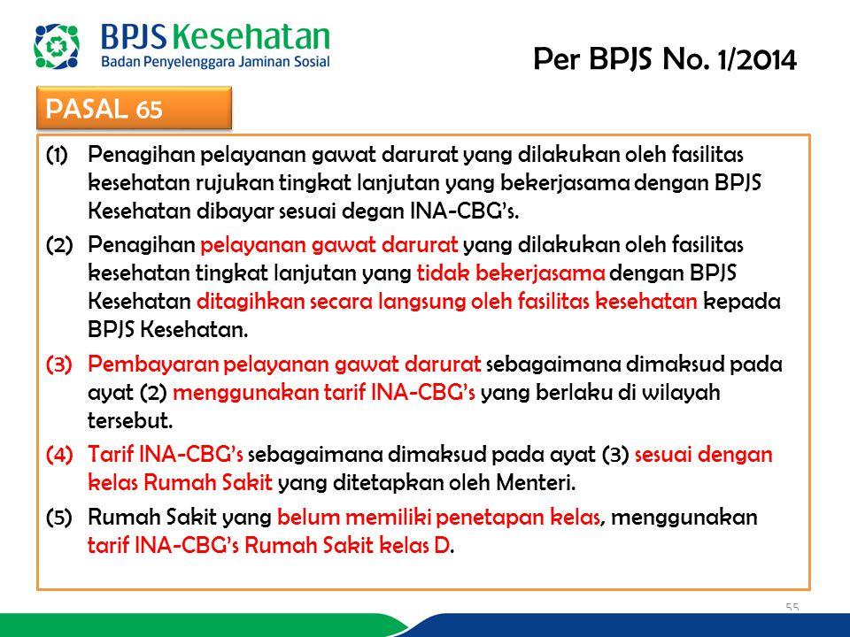 (1)Penagihan pelayanan gawat darurat yang dilakukan oleh fasilitas kesehatan rujukan tingkat lanjutan yang bekerjasama dengan BPJS Kesehatan dibayar sesuai degan INA-CBG's.