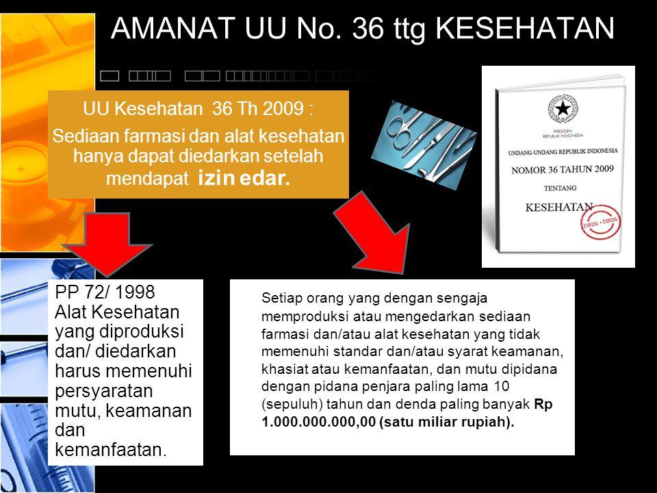 AMANAT UU No. 36 ttg KESEHATAN Setiap orang yang dengan sengaja memproduksi atau mengedarkan sediaan farmasi dan/atau alat kesehatan yang tidak memenu