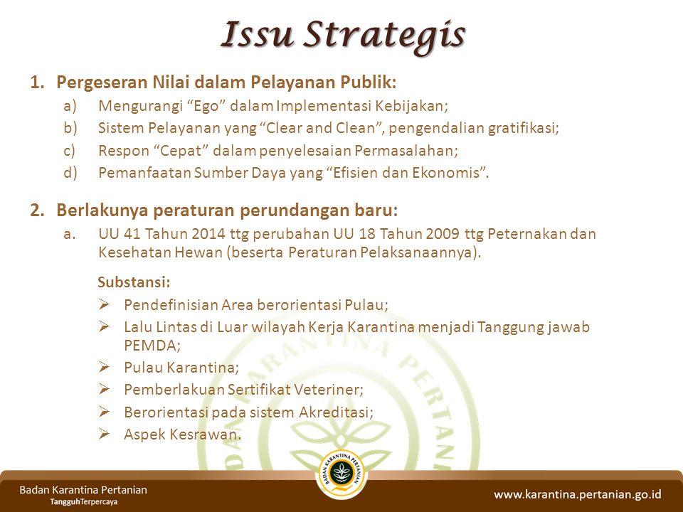 """Issu Strategis 1.Pergeseran Nilai dalam Pelayanan Publik: a)Mengurangi """"Ego"""" dalam Implementasi Kebijakan; b)Sistem Pelayanan yang """"Clear and Clean"""","""