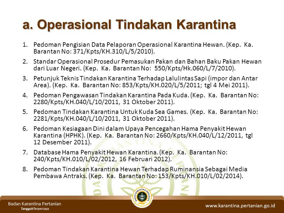 a. Operasional Tindakan Karantina 1.Pedoman Pengisian Data Pelaporan Operasional Karantina Hewan. (Kep. Ka. Barantan No: 371/Kpts/KH.310/L/5/2010). 2.