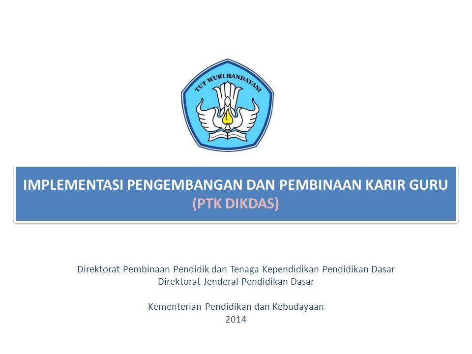 IMPLEMENTASI PENGEMBANGAN DAN PEMBINAAN KARIR GURU (PTK DIKDAS) Direktorat Pembinaan Pendidik dan Tenaga Kependidikan Pendidikan Dasar Direktorat Jend