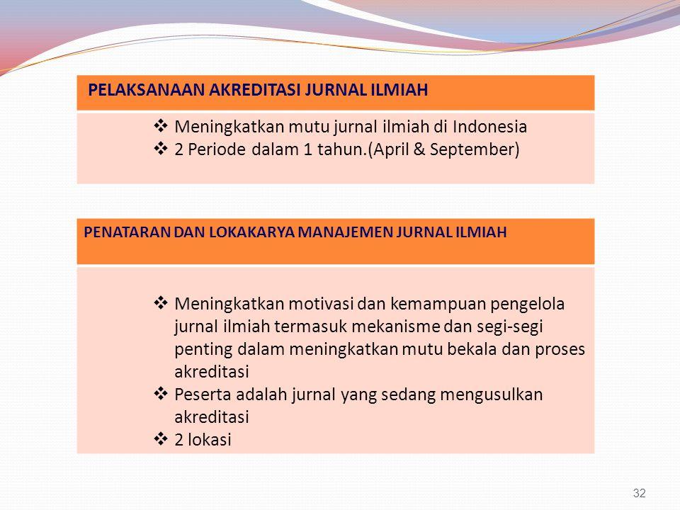 32 PELAKSANAAN AKREDITASI JURNAL ILMIAH  Meningkatkan mutu jurnal ilmiah di Indonesia  2 Periode dalam 1 tahun.(April & September) PENATARAN DAN LOKAKARYA MANAJEMEN JURNAL ILMIAH  Meningkatkan motivasi dan kemampuan pengelola jurnal ilmiah termasuk mekanisme dan segi-segi penting dalam meningkatkan mutu bekala dan proses akreditasi  Peserta adalah jurnal yang sedang mengusulkan akreditasi  2 lokasi