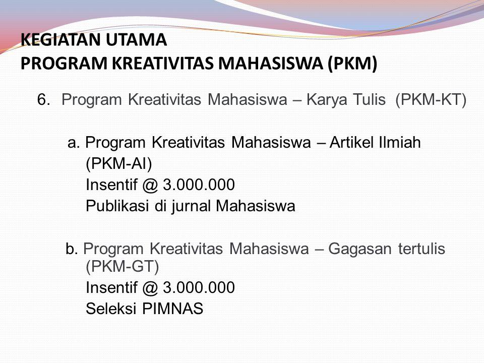 KEGIATAN UTAMA PROGRAM KREATIVITAS MAHASISWA (PKM) 6.Program Kreativitas Mahasiswa – Karya Tulis (PKM-KT) a.