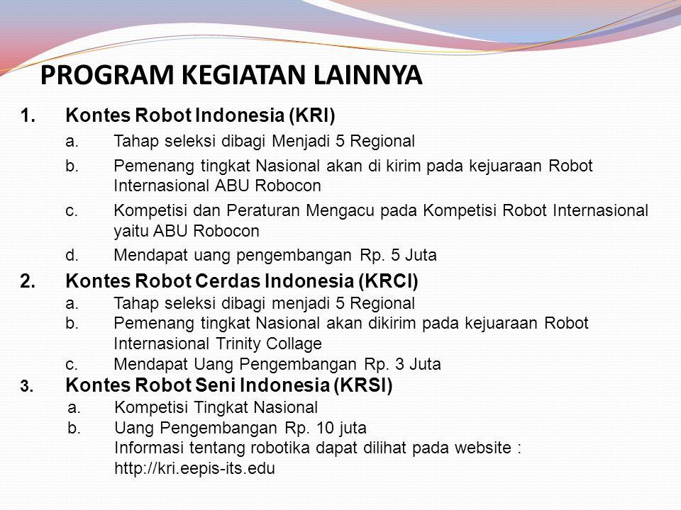 PROGRAM KEGIATAN LAINNYA 1.Kontes Robot Indonesia (KRI) a.