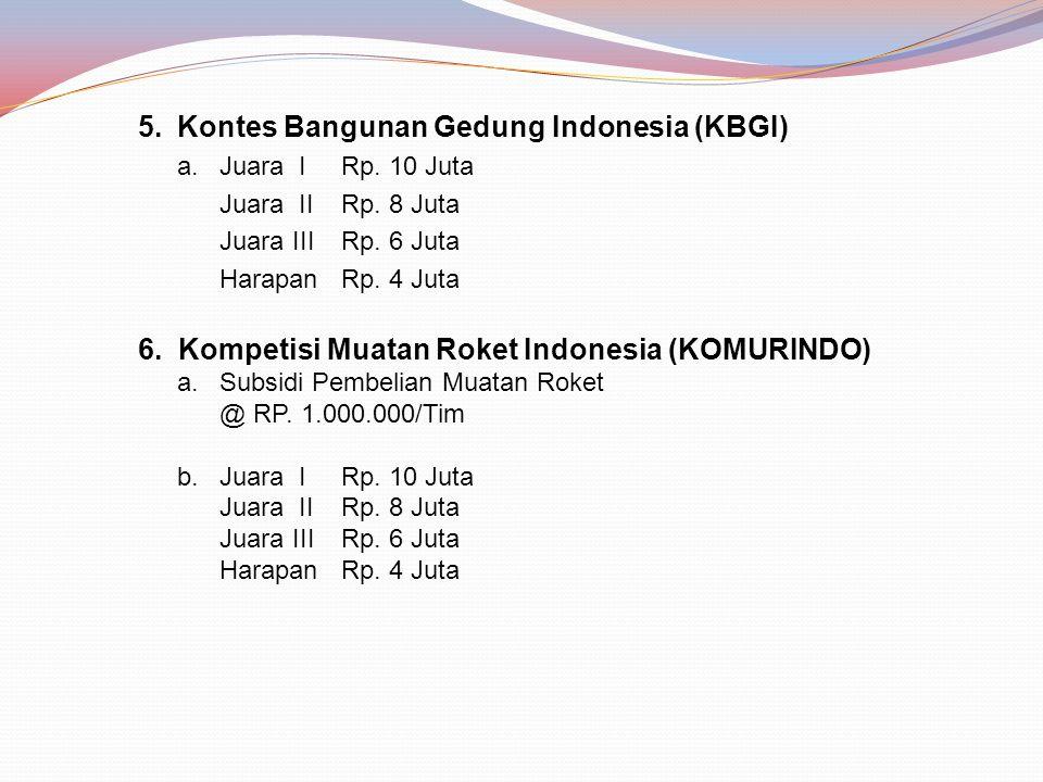 5.Kontes Bangunan Gedung Indonesia (KBGI) a. Juara I Rp.