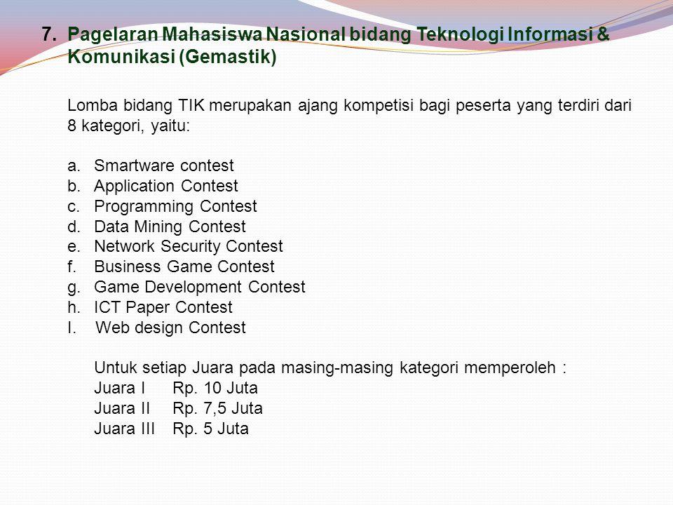 7.Pagelaran Mahasiswa Nasional bidang Teknologi Informasi & Komunikasi (Gemastik) Lomba bidang TIK merupakan ajang kompetisi bagi peserta yang terdiri dari 8 kategori, yaitu: a.