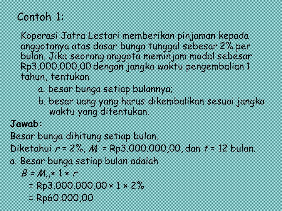 Contoh 1: Koperasi Jatra Lestari memberikan pinjaman kepada anggotanya atas dasar bunga tunggal sebesar 2% per bulan. Jika seorang anggota meminjam mo