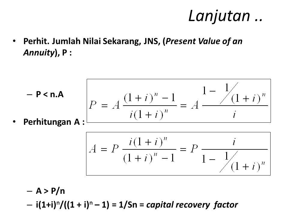 ANUITAS (ANNUITY) Serangkaian pembayaran/tagihan yang jumlahnya tetap (A) tiap periode selama jangka waktu tertentu (n).