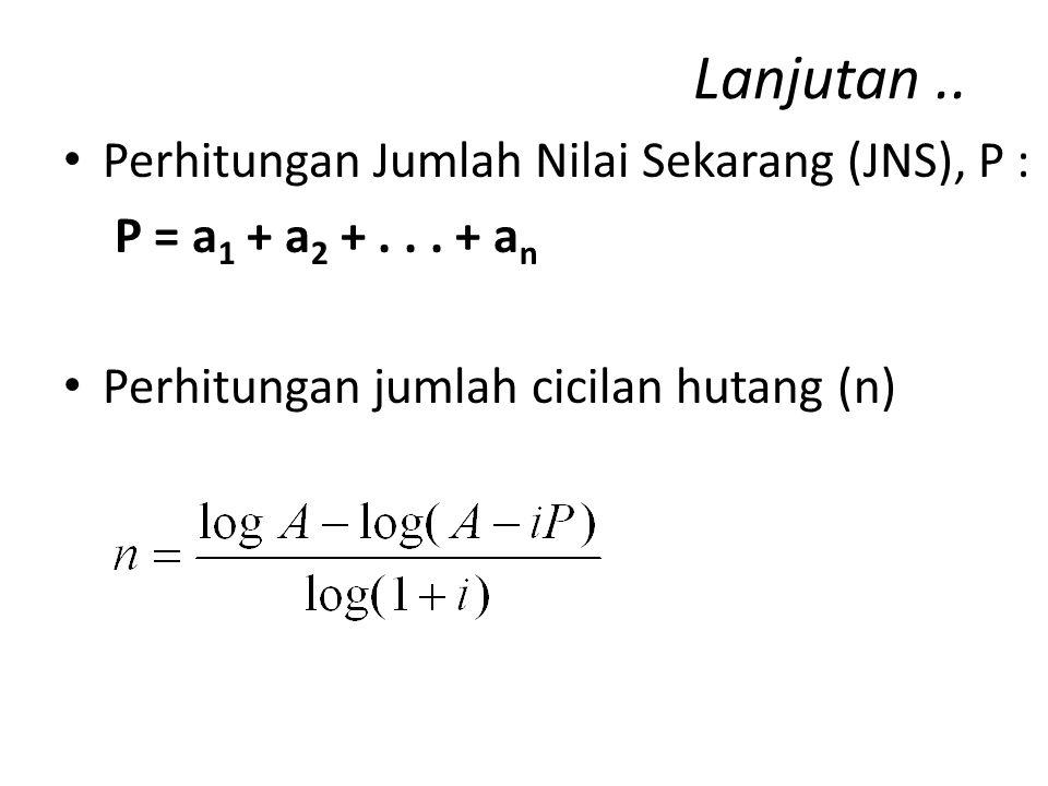 Lanjutan.. Perhitungan Sisa/Saldo Hutang dari Pinjaman Sk = P – (a 1 + a 2 +... + a k ) – atau :
