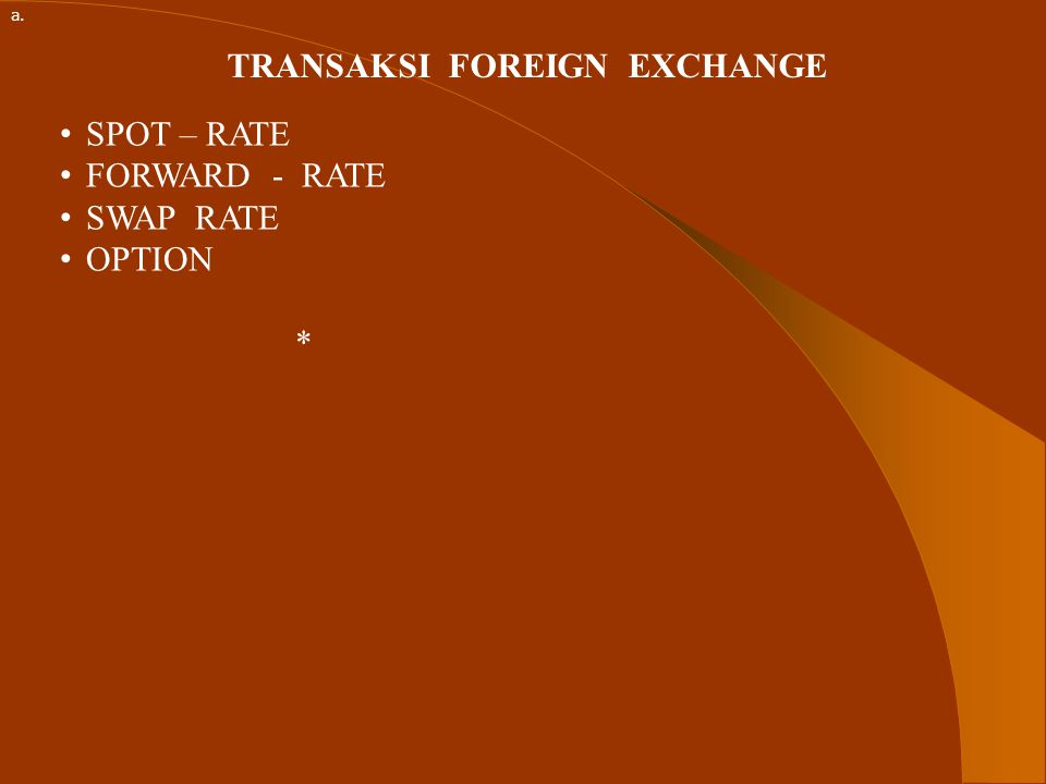TRANSAKSI FOREIGN EXCHANGE SPOT – RATE FORWARD - RATE SWAP RATE OPTION * a.