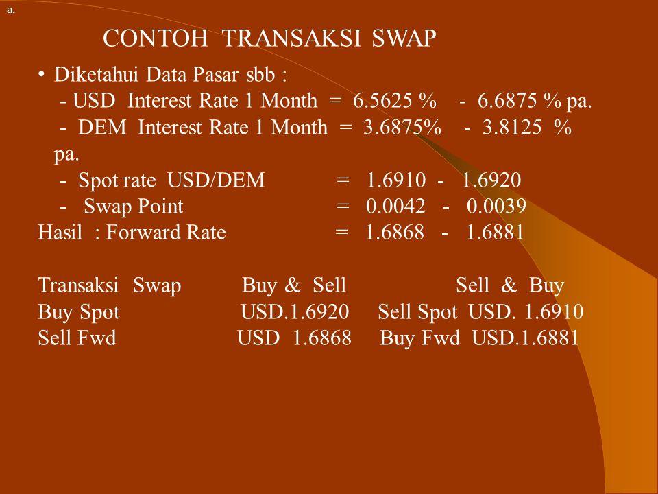 PENGERTIAN TRANSAKSI SWAP TRANSAKSI SWAP : Adalah suatu transakasi dimana 2(dua) Curency diperdagangkan melalui pembelian / penjualan tunai (Spot) dan