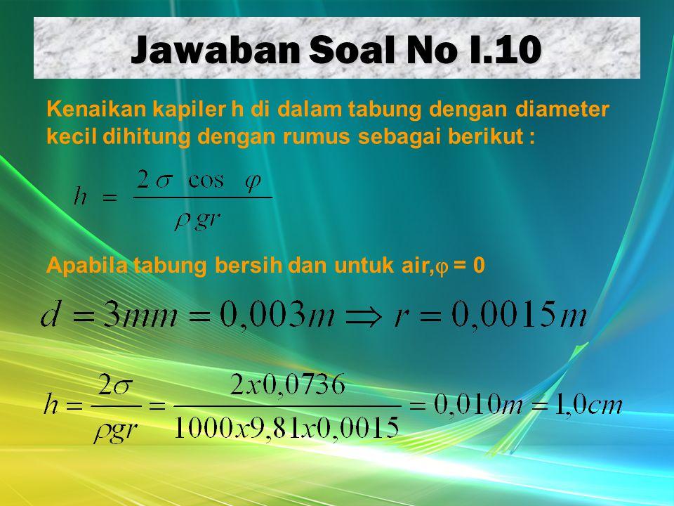 Jawaban Soal No I.10 Apabila tabung bersih dan untuk air,  = 0 Kenaikan kapiler h di dalam tabung dengan diameter kecil dihitung dengan rumus sebagai