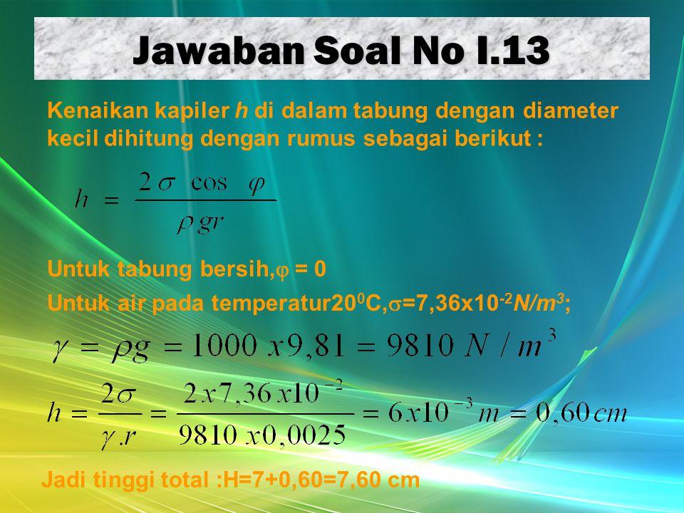 Jawaban Soal No I.13 Untuk tabung bersih,  = 0 Kenaikan kapiler h di dalam tabung dengan diameter kecil dihitung dengan rumus sebagai berikut : Untuk