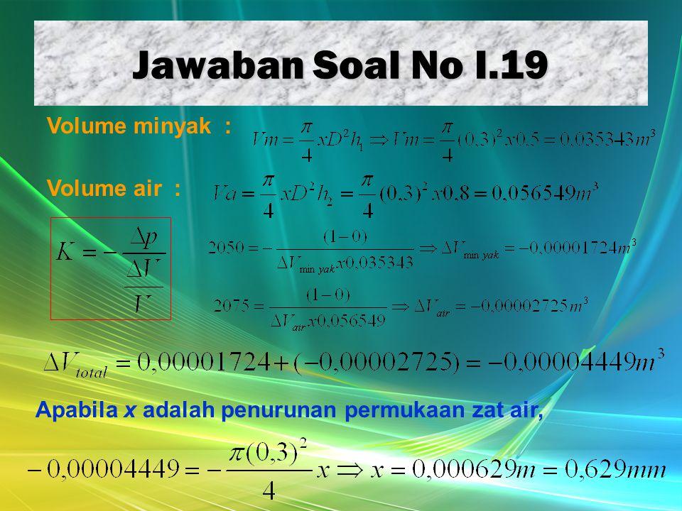 Jawaban Soal No I.19 Volume minyak : Volume air : Apabila x adalah penurunan permukaan zat air,