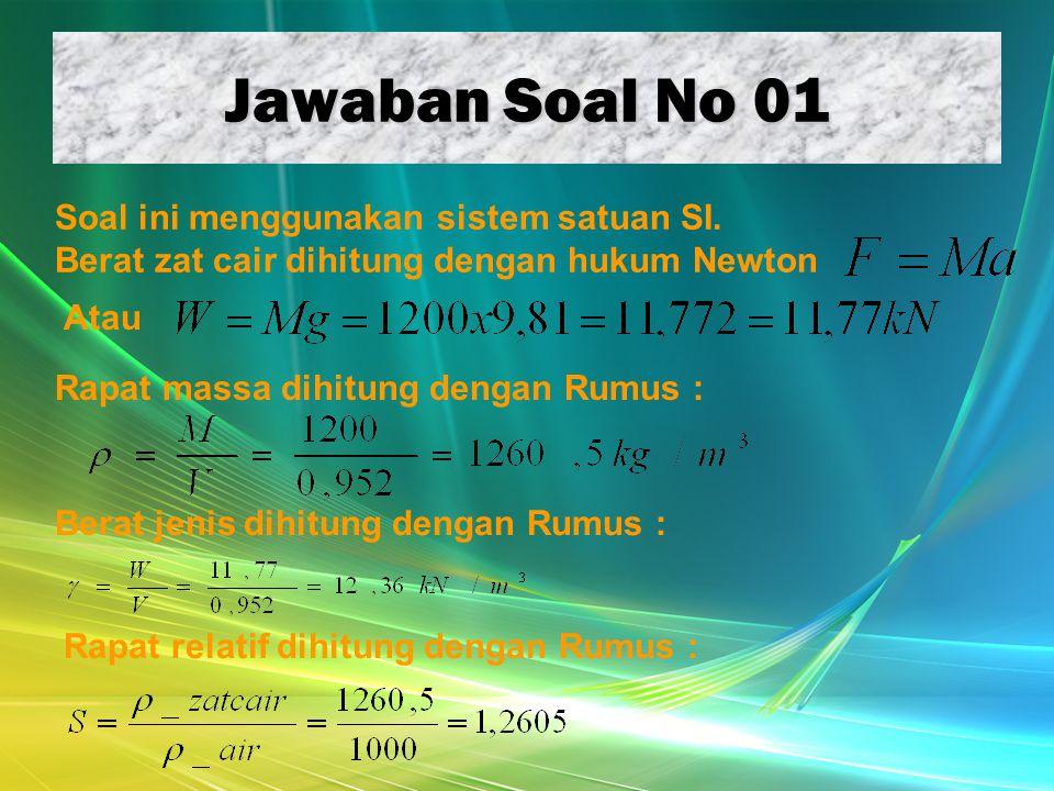 Jawaban Soal No 01 Soal ini menggunakan sistem satuan SI. Berat zat cair dihitung dengan hukum Newton Atau Rapat massa dihitung dengan Rumus : Berat j