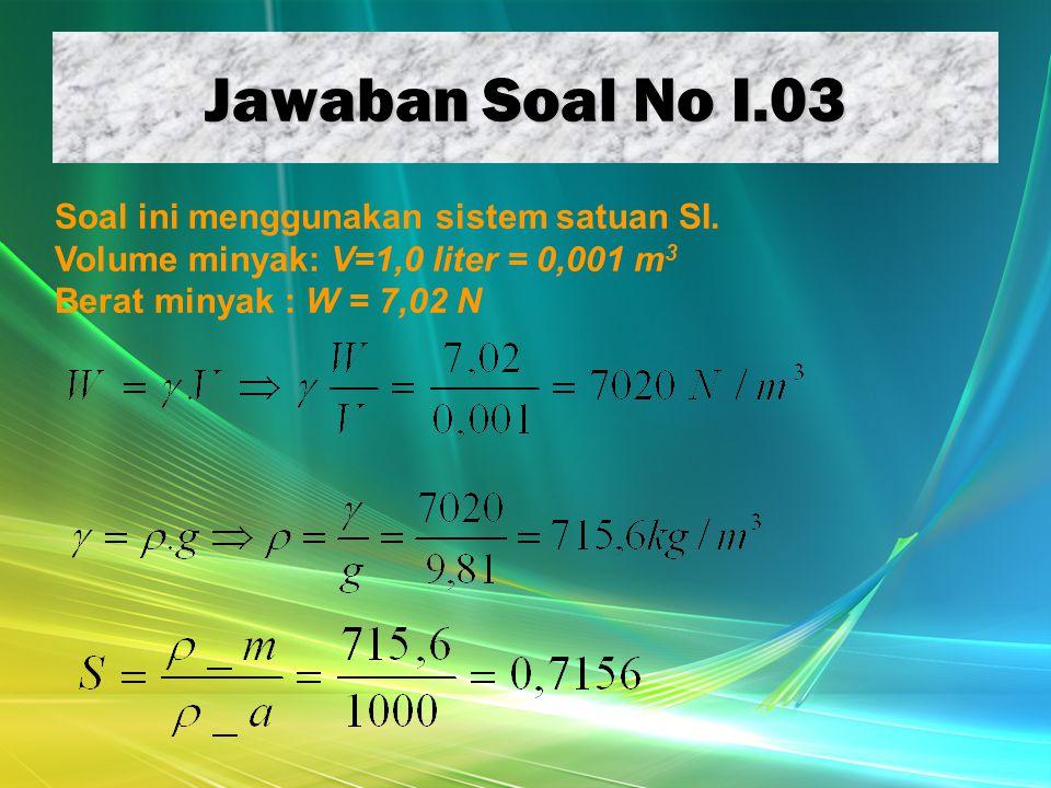 Jawaban Soal No I.03 Soal ini menggunakan sistem satuan SI. Volume minyak: V=1,0 liter = 0,001 m 3 Berat minyak : W = 7,02 N