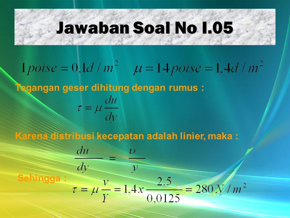 Jawaban Soal No I.05 Tegangan geser dihitung dengan rumus : Karena distribusi kecepatan adalah linier, maka : Sehingga :