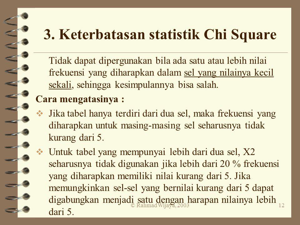© Rahmad Wijaya, 200312 3. Keterbatasan statistik Chi Square Tidak dapat dipergunakan bila ada satu atau lebih nilai frekuensi yang diharapkan dalam s