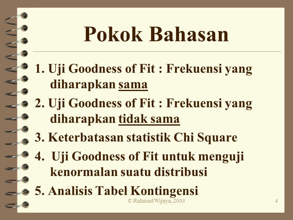 © Rahmad Wijaya, 20034 Pokok Bahasan 1. Uji Goodness of Fit : Frekuensi yang diharapkan sama 2. Uji Goodness of Fit : Frekuensi yang diharapkan tidak