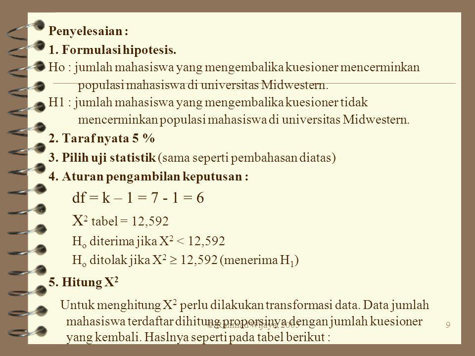 © Rahmad Wijaya, 20039 Penyelesaian : 1. Formulasi hipotesis. Ho : jumlah mahasiswa yang mengembalika kuesioner mencerminkan populasi mahasiswa di uni