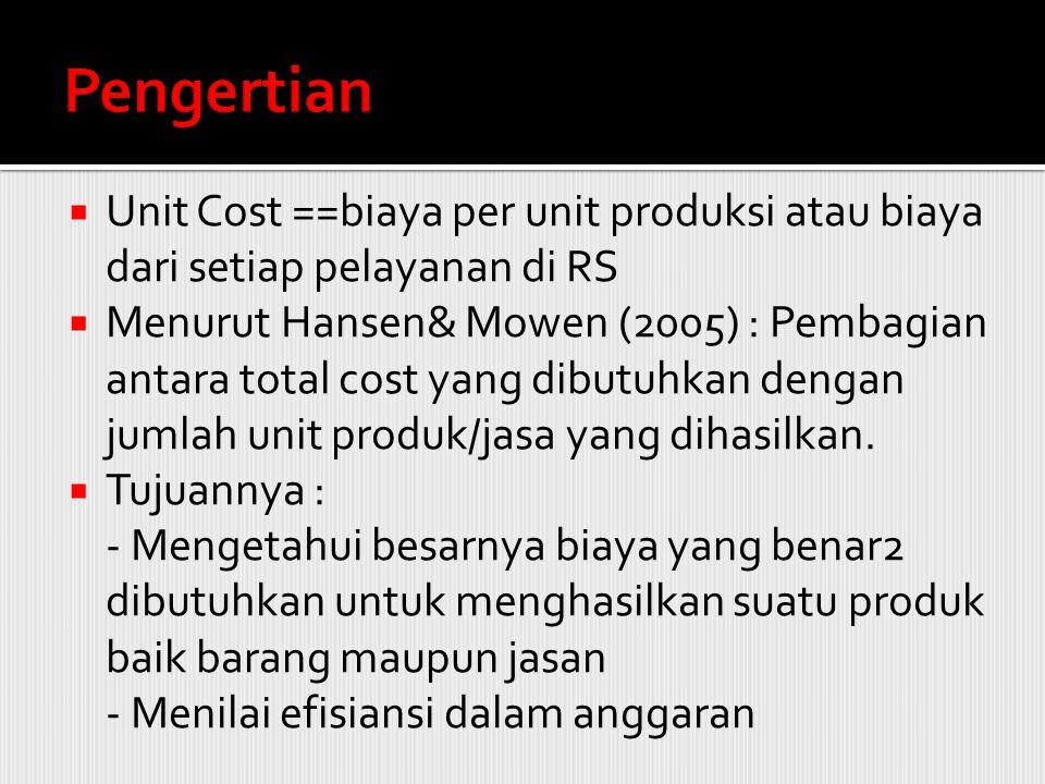  Unit Cost ==biaya per unit produksi atau biaya dari setiap pelayanan di RS  Menurut Hansen& Mowen (2005) : Pembagian antara total cost yang dibutuh