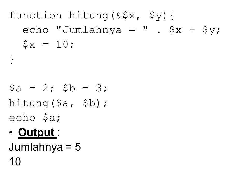 function coba() { echo Pada fungsi coba() \n ; } function lagi($arg = ) { echo Pada fungsi lagi(); argumennya $arg \n ; } $func = coba ; $func(); $func = lagi ; $func( percobaan );