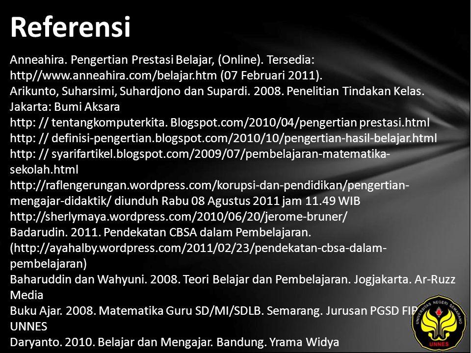 Referensi Anneahira. Pengertian Prestasi Belajar, (Online). Tersedia: http//www.anneahira.com/belajar.htm (07 Februari 2011). Arikunto, Suharsimi, Suh