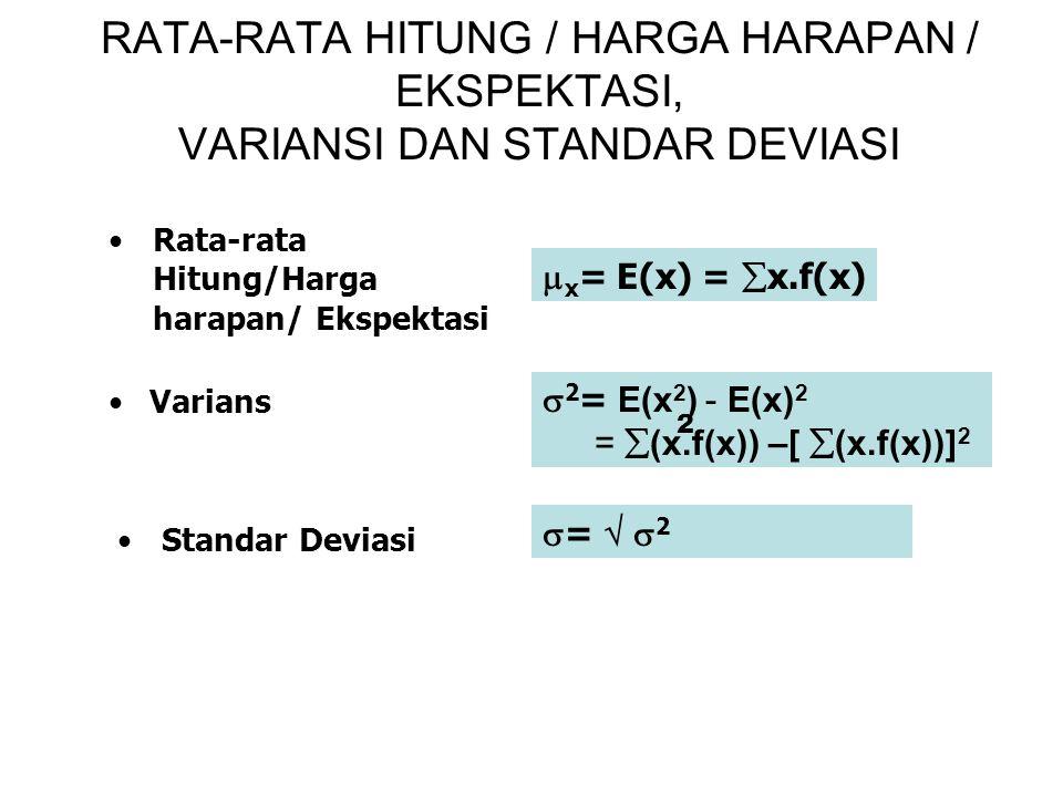 RATA-RATA HITUNG / HARGA HARAPAN / EKSPEKTASI, VARIANSI DAN STANDAR DEVIASI Varians Rata-rata Hitung/Harga harapan/ Ekspektasi Standar Deviasi  x = E