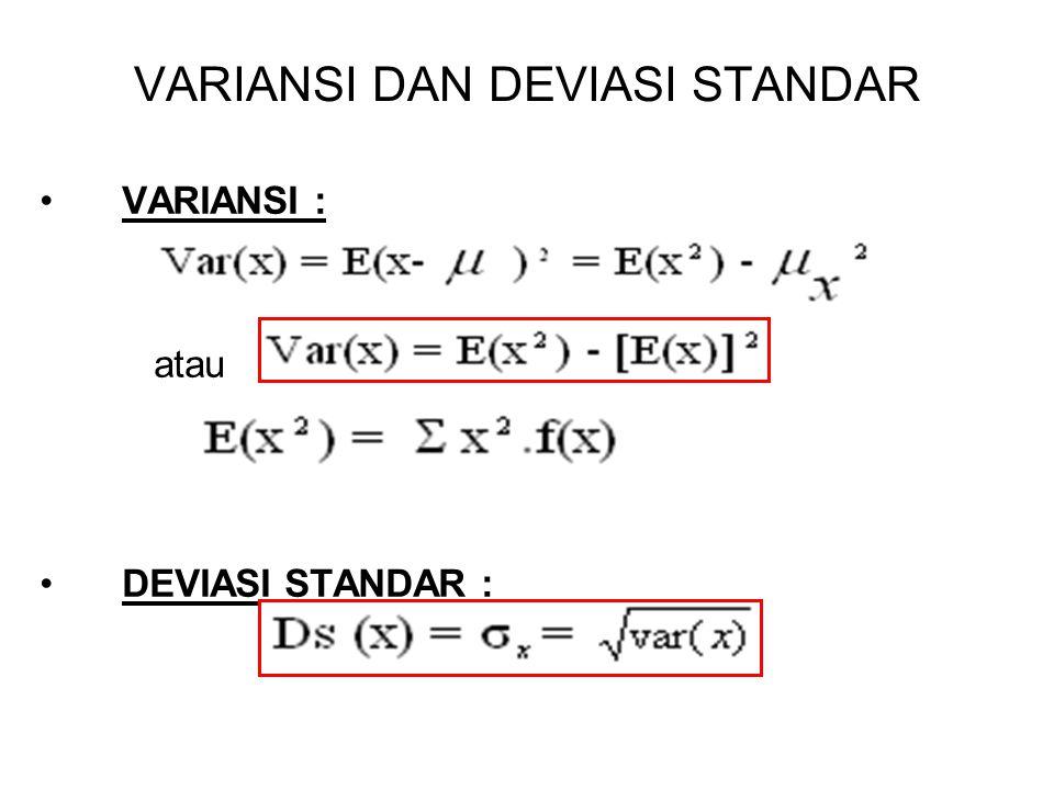 VARIANSI DAN DEVIASI STANDAR VARIANSI : atau DEVIASI STANDAR :