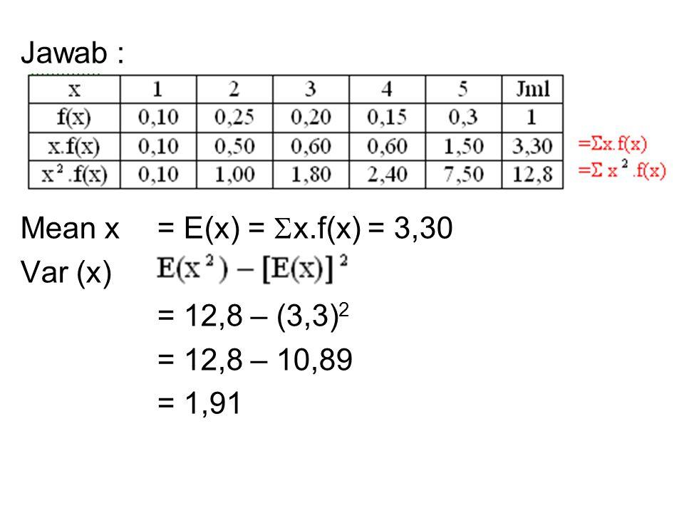 Jawab : Mean x = E(x) =  x.f(x) = 3,30 Var (x) = = 12,8 – (3,3) 2 = 12,8 – 10,89 = 1,91