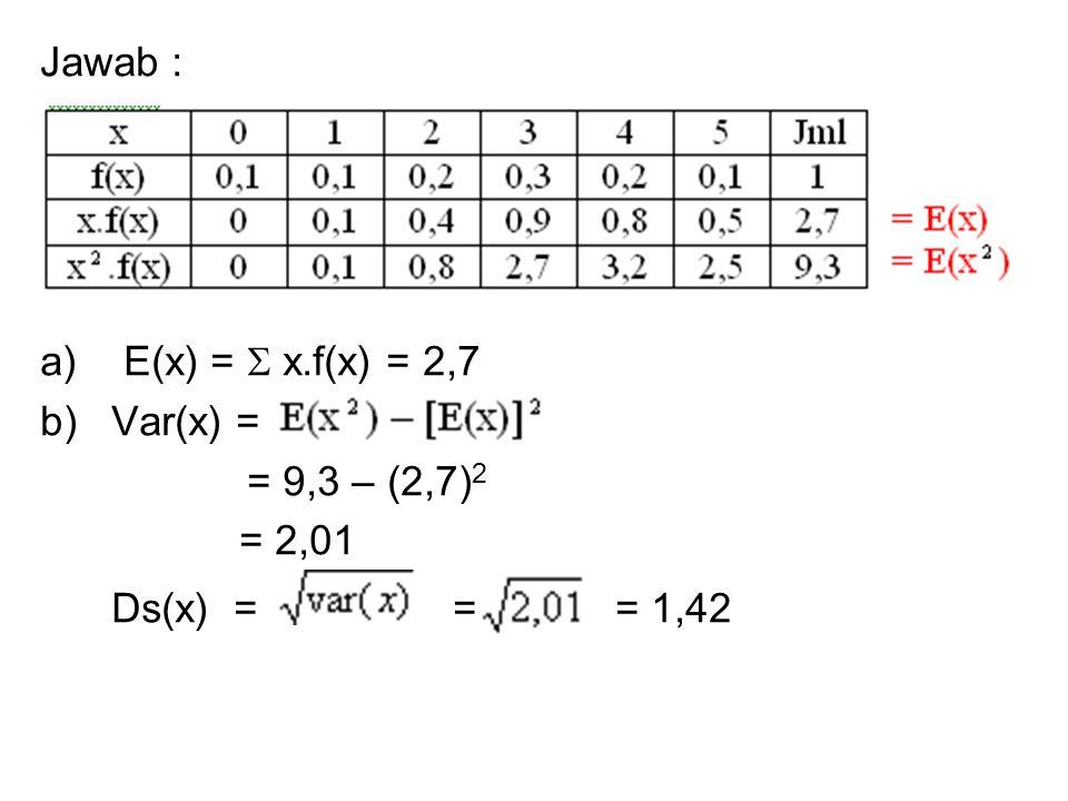 Jawab : a) E(x) =  x.f(x) = 2,7 b)Var(x) = = 9,3 – (2,7) 2 = 2,01 Ds(x) = = = 1,42