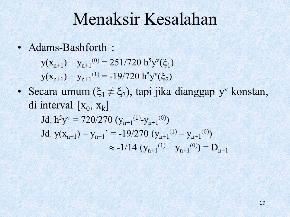 10 Menaksir Kesalahan Adams-Bashforth : y(x n+1 ) – y n+1 (0) = 251/720 h 5 y v (  1 ) y(x n+1 ) – y n+1 (1) = -19/720 h 5 y v (  2 ) Secara umum (