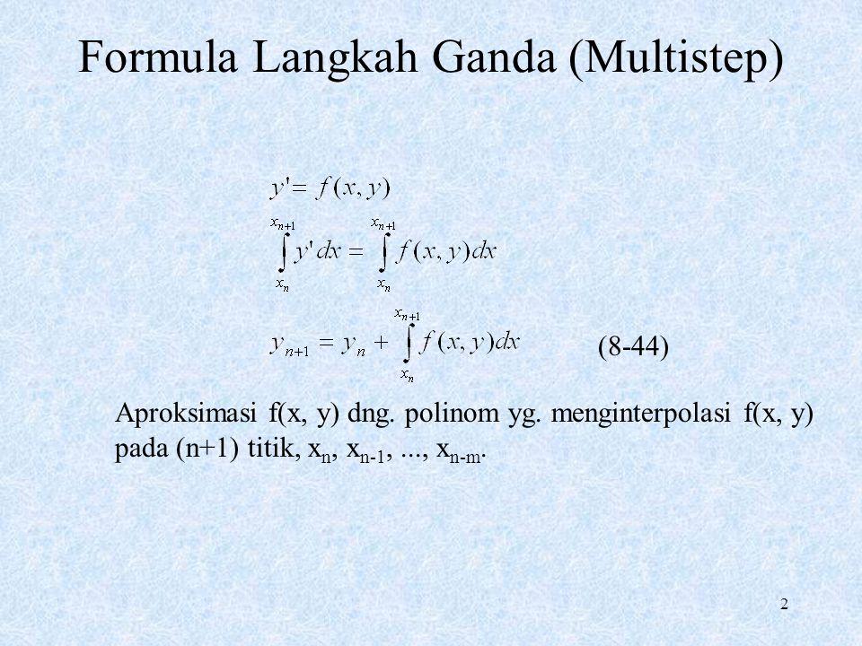 2 Formula Langkah Ganda (Multistep) Aproksimasi f(x, y) dng. polinom yg. menginterpolasi f(x, y) pada (n+1) titik, x n, x n-1,..., x n-m. (8-44)